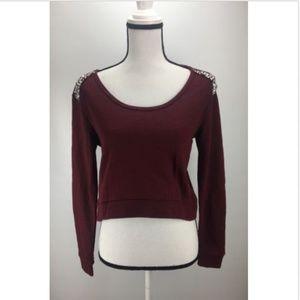 H.I.P Crop Sweater Sz S Shoulder Embellished Scoop